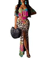 Women's Off Shoulder Maxi Dress Sexy Hawaiian Floral Long Party Dresses