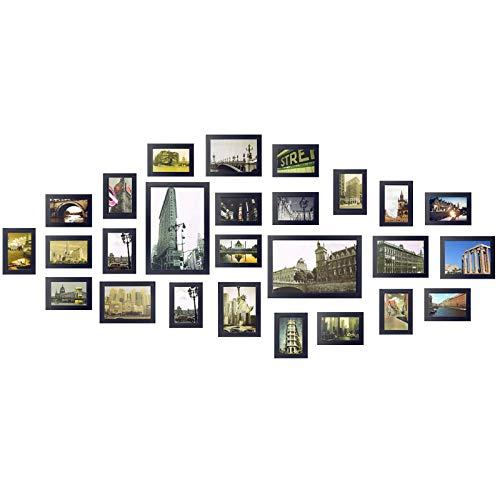 Yorbay Bilderrahmen 26er Set aus Holz Fotorahmen19 Stk. 10x15cm, 5 Stk. 13x18cm, 2Stk. 20x30cm aus Plexiglas Foto Collage, mit 3 häufigsten 1:1 Installationsvorlage und Bildabdeckung(Schwarz), Mehrweg