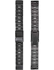 Abanen Titanium Watch Bands for Fenix 6/Fenix 5, Quick Release Fit 22mm Titanium Metal Wrist Strap with Stainless Steel Buckle for Garmin Fenix 6 Pro/Sapphire/Solar,Fenix 5 Plus,Instinct(Black)