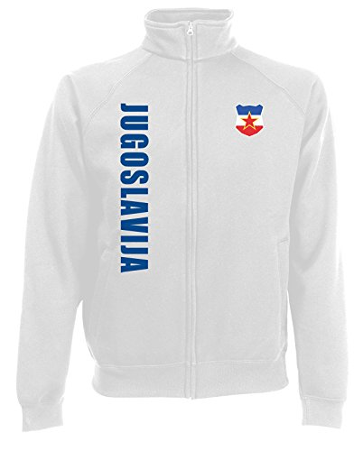 AkyTEX Jugoslawien Jugoslavija EM-2020 Sweatjacke Wunschname Nummer Weiß S