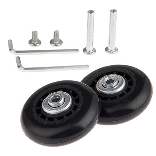 Juego de 2 ruedas de maleta (60 x 18 mm) de repuesto, con ejes, rodamientos y llaves