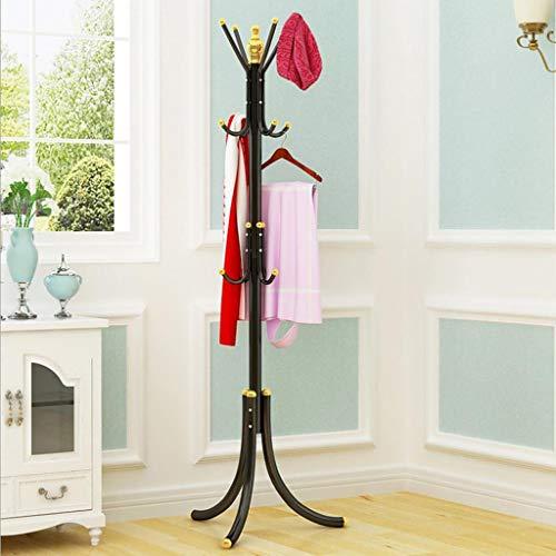 TGBYHN kapstok, metalen mantel houdt kapstok met 12 haken, hoedenhouder, vrij voor kast, hal, slaapkamer, kantoor zwart.