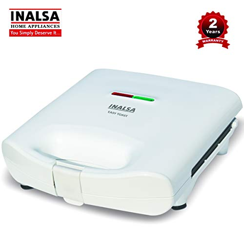 INALSA Easy Toast Sandwich Maker-750W with Non-Stick Coated Plate and Bigger Body|Deep Filling,Triangle Sandwich,(White)