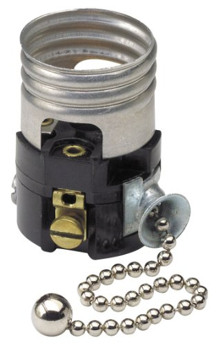 Leviton 19980-M Medium Base Interior Only, Shell Incandescent Lampholder, Pull Chain, Single Circuit, pack of 1
