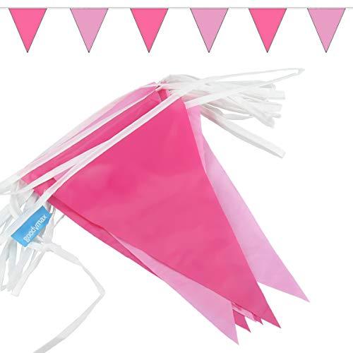 goodymax® Wimpelkette 10 m Pink-Rosa - viele weitere Farben & Farbkombinationen zur Auswahl