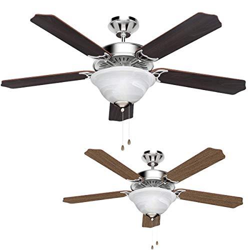 LE Plafondventilator met verlichting, 5 houten bladen, eiken/notenhout, 2 x E14-fitting, klassieke plafondventilator met trekkoord 132 cm