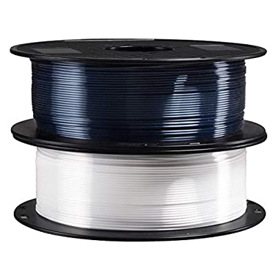2 in 1 Silk Shiny White Black PLA 3D Printer Filament Bundle, 1.75mm 3D Printing Material 1Kg Each Spool Total 2Kg in One Box with Extra Gift 3D Print Nozzle Clean Tool by TTYT3D