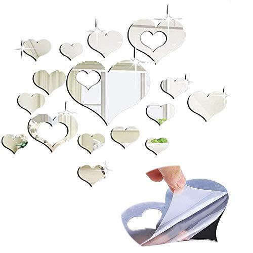 Ziyero Facile DIY Specchio da Parete a Cuore Specchio da Parete con Decorazioni Artistiche di Cuori Adesivo Specchio Cuore Pesca Adatto per Decorare la Casa,l'azienda,la Sala da Pranzo,ECC(Argento)