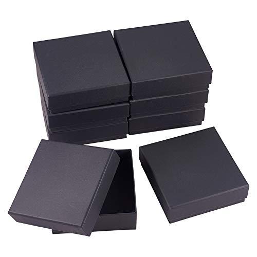 BENECREAT 8 Pack Scatole per Anelli di Goielli in Cartone Nero Scatole di Carta Kraft 12x12x4cm Confezione Regalo Quadrata con Spugna per Immagazzinamento ed Esposizione di Anelli per Bracciale
