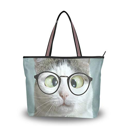 Light Weight Strap Tote Bag Handbags Shoulder Bags Purse Shopping for Women Girls Ladies Student Cat Glasses