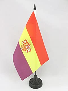 AZ FLAG Second Spanish Republic Coat of Arms Table Flag 5'' x 8'' - Spain Republican Desk Flag 21 x 14 cm - Black Plastic Stick and Base