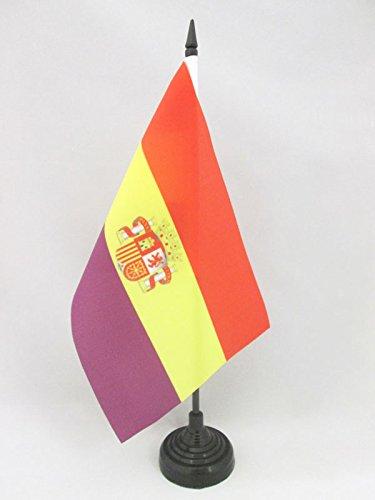 AZ FLAG Bandera de Mesa ESPAÑA Republicana con Escudo 21x14cm - BANDERINA de DESPACHO DE LA Republica ESPAÑOLA 14 x 21 cm