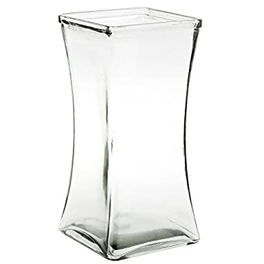 Flower Rose Bunch Glass Gathering Vase Decorative Centerpiece For Home or Wedding (Fits Dozen Roses) - Square - 8.75  Tall, 4.5  Opening, Clear