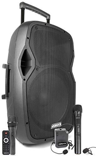 "Vonyx AP1500PA mobile PA-Anlage, 15\"" Woofer, Ausgangsleistung: 800 W, Bluetooth/USB/SD / MP3 / AUX-In, UHF Taschensender-Headset/UHF-Mikrofon/Kabelmikrofon, Akku, Fernbedienung"