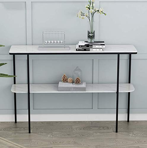 Home Accessories Table Console Table with Storage Shelf 2-Tier Slim Entryway Accent Table Sofa Side Table with Metal Frame Marble Top Hallway Entry Table for Living Room Porch 39 * 11.8 * 31in