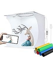 YOTTO Tenda Studio 24x23x22cm fotografico portatile Fotografia Luce Tenda 64 LED Scatola Pieghevole Mini Light Box Con Sfondo a 6 Colori (Bianco, Nero, Giallo, Verde, Blu, Rosso)