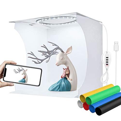 YOTTO 23cm Caja de Estudio Fotográfico Caja de Fotografia Portátil Plegable Photo Studio con Color y Brillo Ajustable 80 Luces LED y 6 Fondos de Colores (Negro Blanco Amarillo Azul Verde Rojo)