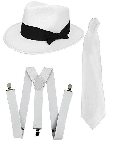 I LOVE FANCY DRESS LTD Gangster-Set, Kostümzubehör, Schwarz oder Weiß, Trily-Mütze, weiße Hosenträger + weiße Krawatte, Mütze, Gangster für Herren, Weiß (weißer Hut)