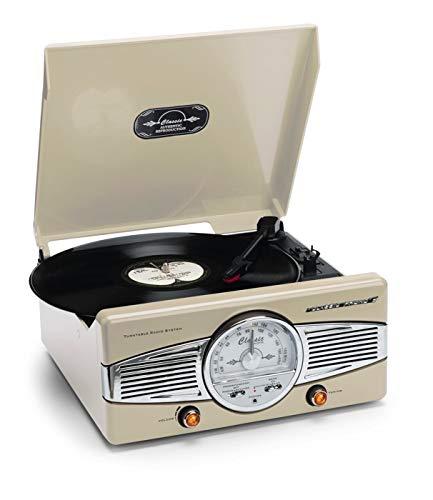 Classic Phono Plattenspieler TT-28C, manuell zu betätigendem Arm, 2 Lautsprechern und LED Anzeige, Vintage