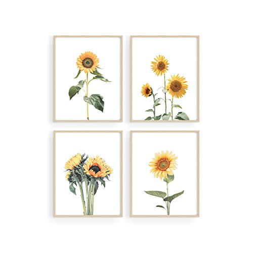 Sunflower Wall Decor and Sunflower Posters - by Haus and Hues | Set of 4 Sun Flower Wall Art | Sunflower Paintings for Wall...