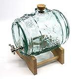 MAAJ GLAS-FASS 2 Liter mit METALL-ZAPFHAHN WEINFASS/WHISKYFASS/SCHNAPSFASS in PROFI-QUALITÄT
