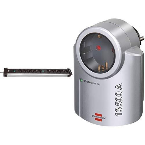Brennenstuhl Premium-Alu-Line, Steckdosenleiste 12-fach - Steckerleiste aus hochwertigem Aluminium Farbe: schwarz &  Primera-Line, Steckdosenadapter mit Überspannungsschutz Farbe: silber/schwarz