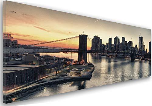 Feeby Frames, Leinwandbild, Bilder, Wand Bild, Wandbilder, Kunstdruck 40x120cm, Brooklyn Bridge, New York, Stadt, GEBÄUDE, Wolkenkratzer, Architektur, Wasser, Ansicht, SCHWARZ