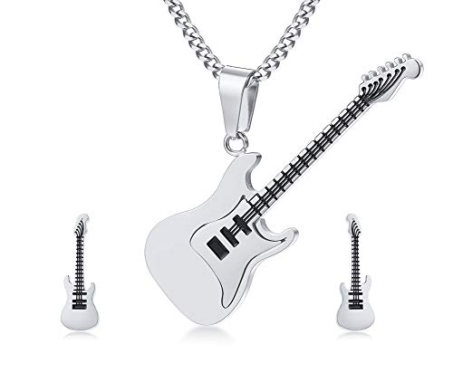 PJ JEWELLERY Unisex Stainless Steel Guitar Pendant Necklace and Guitar Stud Earrings Jewelry Set