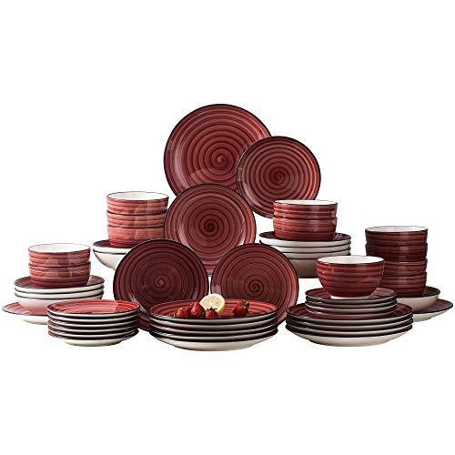 vancasso BonBon Servizio Piatti Set di Piatti 48 pz in Ceramica Dipinto a Mano Servizio da Tavola in Porcellana Piatti Piani Piatti da Dolce Piatti da Zuppa Ciotole per 12 Persone Colore Rosso