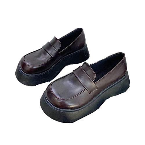 Zapatos Mary Janes para Mujer, Mocasines sin Cordones de Cuero PU de Estilo británico, Zapatos de Creepers con Plataforma Negra y Punta Redonda Vintage