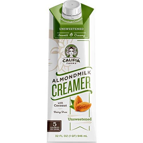 Califia Farms - Unsweetened Almond Milk Coffee Creamer with Coconut Cream, 32 Oz (Pack of 6)   Non Dairy   Plant Based   Keto Friendly   Sugar Free   Low Calorie   Whole30   Non-GMO   Shelf Stable