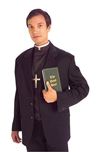 Forum Novelties Men's Priest Costume Shirt Front with Collar, Black/White, Standard