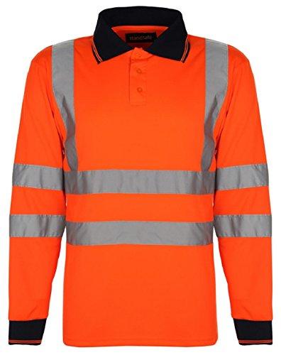 Polo de sûreté à manches longues haute visibilité pour homme Certifié EN471 - Orange - XXL