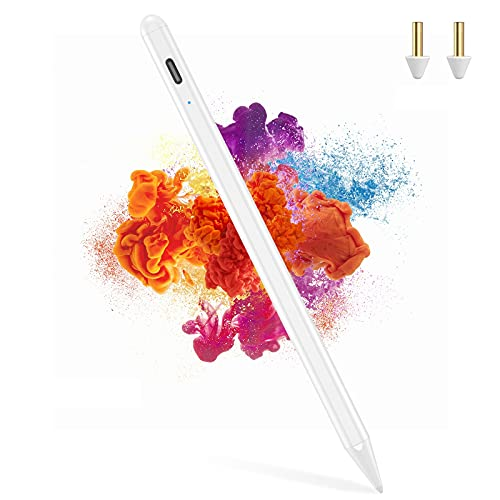 Stylus Pen for iPad Pencil with Palm Rejection, Active Stylish Pens Rechargeable Pencil Compatible with Apple iPad 2018(6th Gen), iPad Air (3rd Gen), iPad Mini (5th Gen), iPad Pro 11/12.9 (White)