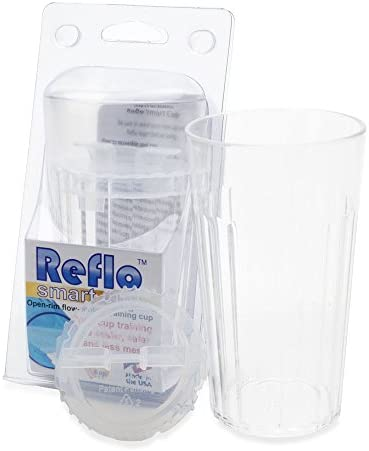 Reflo Smart Cup With Open Rim Flow Control, Training Cup for Kids 6 Month and Up - Blue