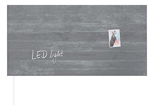 SIGEL GL406 Pizarra magnética de cristal, con luz LED, 91 x 46 cm, diseño hormigón gris - Artverum