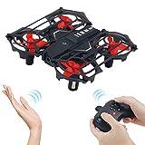 OBEST Mini Drone para Niños, RC Helicóptero por Contro Remoto con Luces LED Infrarrojos Inducción, Modo sin Cabeza, Volteos 3D, Una Clave para Despegar/Aterrizar, 3 Baterías, Juguete Dron para Niños