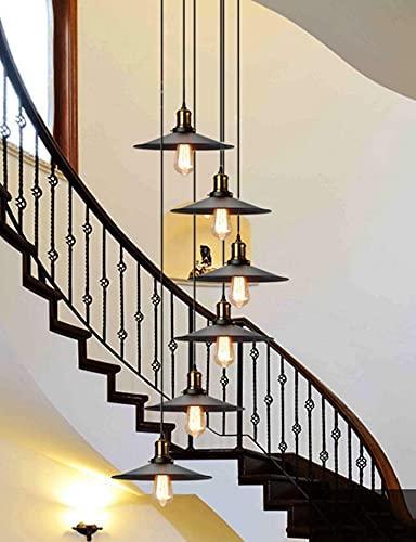 ZJDM Candelabros de Escalera 6 Luces múltiples Sala de Estar Creativa luz Colgante Villa lámpara de Techo apartamento dúplex escaleras de Caracol candelabro Largo, 35x150cm