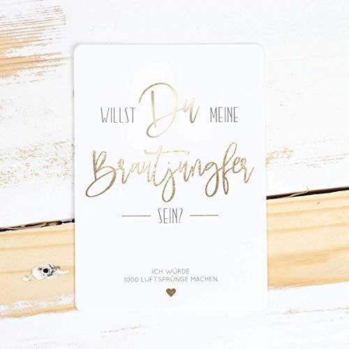 Brautjungfer fragen, goldene Postkarte, süßes Geschenk für Brautjungfer, Willst du meine Brautjungfer sein