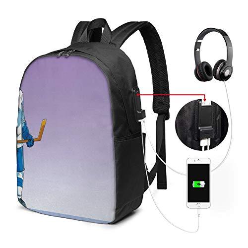 Laptop Rucksack Business Rucksack für 17 Zoll Laptop, Eishockey Schulrucksack Mit USB Port für Arbeit Wandern Reisen Camping, für Herren Damen