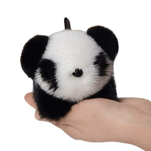 Zanzan Keychain Rings for Crafts, Mink Fur Panda Shape Plush Keychain,Car Key Ring Bag Ornaments Decoration for Girlfriend Mother Birthday Gift Chapstick Holder Keychains