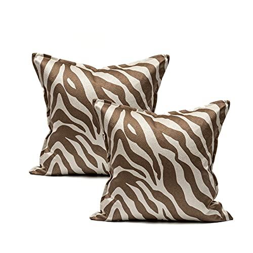 QXbecky Cuscino motivo zebrato color caffè cuciture color arancio luce stile lusso cintura ad alta precisione nucleo interno in vita posteriore 1~2 pezzi decorazione divano moderno 45 cm