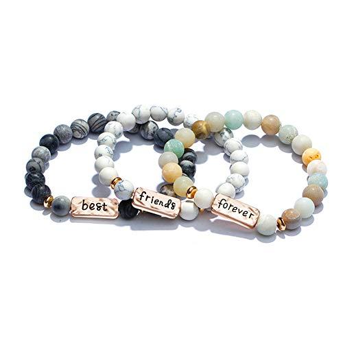 YINI 3 Pcs Natural Volcanic Stone Friendship Bracelets Handmade Beaded Stretch Bracelets (bra000001-1) Best Friends Forever