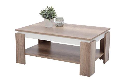Couchtisch Tim II, Holzwerkstoff, wildeiche/weiß, 90x60x41 cm