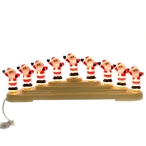 Shiny Brite Jolly Santas CANDOLIER Plastic Electric 9 Lamp Christmas 4027594