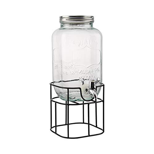 BUTLERS Refresh Getränkespender-Set 3,5 Liter aus Glas - Wasserspender mit Zapfhahn und Ständer - Saftspender mit Metallständer