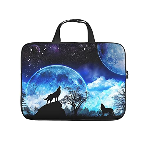 Beautiful Moon Wolf Howling Double-Sided Printed Laptop Bag Protective Case Waterproof Neoprene Laptop Bag Sleeve Case Cute Tablet Bag Sleeve Case for Wife Husband