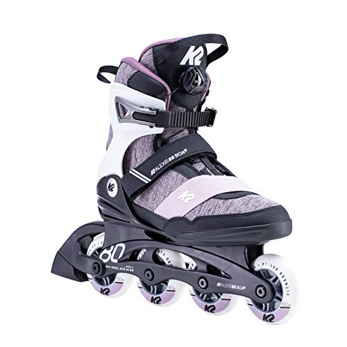 K2 Skates Damen ALEXIS 80 BOA Inline Skates, White-Purple, 37 EU (4.5 UK)