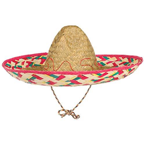 Lipodo Sombrero Mexico Stroh Herren/Damen - Mexikohut Karneval - Geflochtener Partyhut mit Kinnriemen - Strohhut Frühling/Sommer - Mexikanerhut One Size 54-58 cm Natur One Size