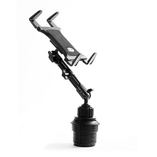 Tablet Cup Holder Mount for Car or Truck - by TACKFORM [ Enduro Series ] Heavy Duty ELD Mount - Aluminum 3-Way Adjustable Arm with Universal Spring Loaded Tablet Cradle